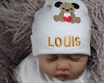 Personalized baby hat with puppy - micro preemie / preemie / newborn / 0-3 months / 3-6 months