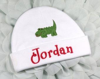 Personalized baby hat with alligator - micro preemie / preemie / newborn / 0-3 months / 3-6 months