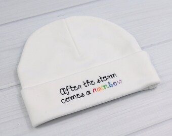 Rainbow baby hat - rainbow after the storm