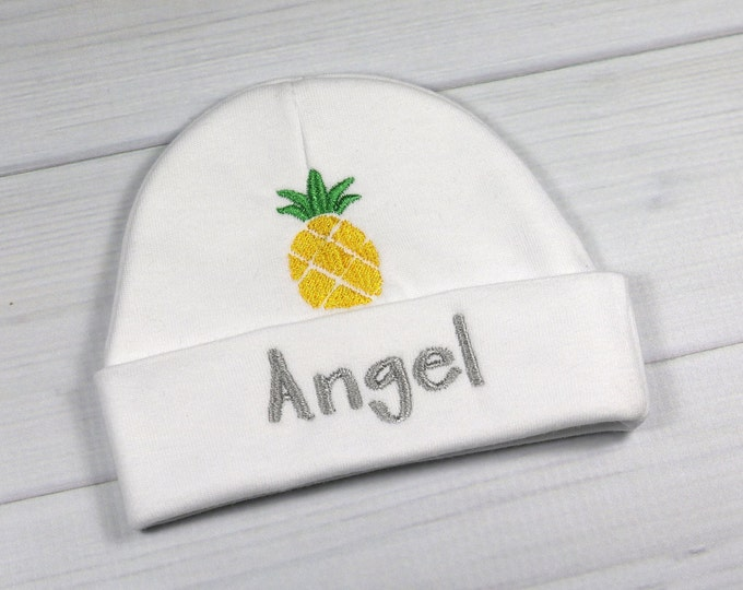 Personalized baby hat with pineapple - micro preemie / preemie / newborn / 0-3 months / 3-6 months