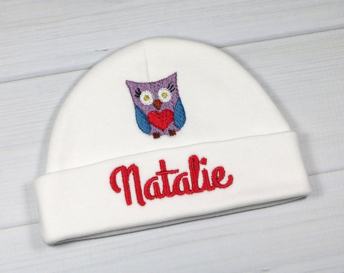 Personalized baby hat with owl - micro preemie / preemie / newborn / 0-3 months / 3-6 months