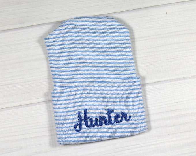Baby hospital hat - personalized newborn beanie - personalized preemie hat - blue striped baby hat - baby boy name hat
