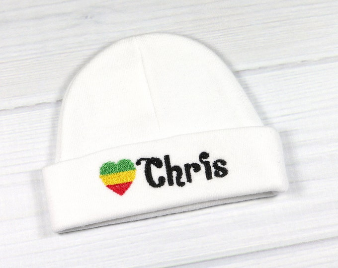 Personalized baby hat with Rasta flag - micro preemie / preemie / newborn / 0-3 months / 3-6 months