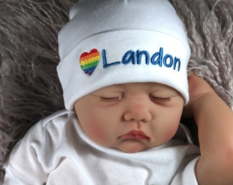 READY Rainbow Baby hat white bobble pom unisex baby hat Rainbow bobble slouchy Baby Beanie 6-9 months