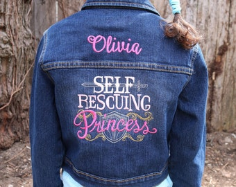 Personalized girl's denim jacket with embroidered design Self Rescuing Princess - toddler jean jacket with name