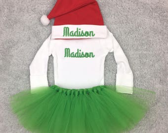 Newborn Christmas outfit with green or red tutu