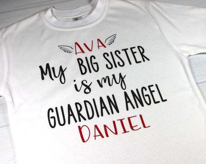 Personalized kids T-shirt for sibling with Guardian Angel