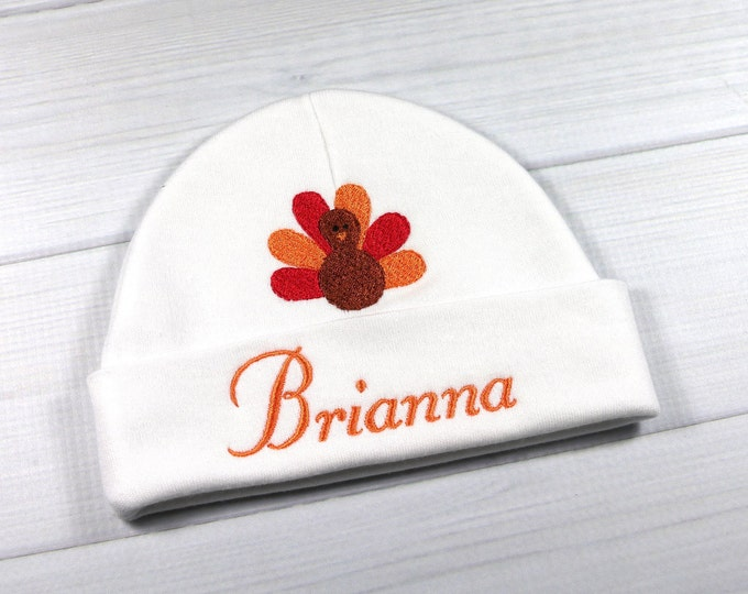 Personalized baby Thanksgiving turkey hat - micro preemie / preemie / newborn / 0-3 months / 3-6 months