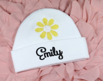 322d2391364 Personalized baby girl hat with embroidered daisy - micro preemie hat   preemie  hat   newborn hat   0-3 months   3-6 months