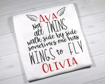 Personalized baby bodysuit for surviving twin - Not all twins walk side by side sometimes one has wings to fly