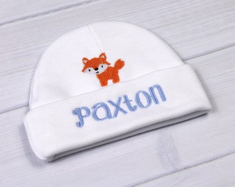 Personalized baby hat with fox - micro preemie / preemie / newborn / 0-3 months / 3-6 months