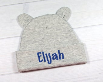 Personalized baby boy beanie - custom newborn hat for a baby boy in gray - baby beanie with ears - 0-3 months baby hat