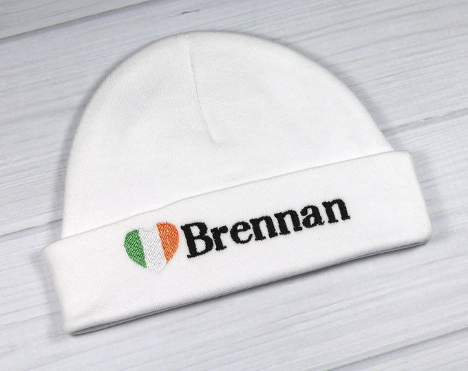 Personalized baby hat with Irish flag - micro preemie / preemie / newborn / 0-3 months / 3-6 months