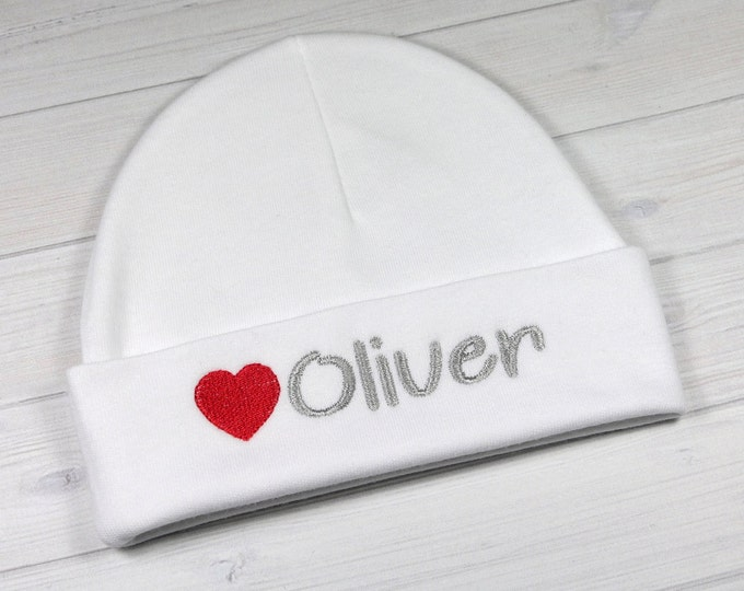 Personalized baby hat with heart - micro preemie / preemie / newborn / 0-3 months / 3-6 months