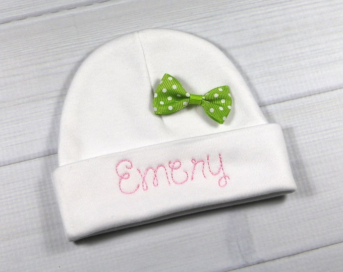 Personalized baby girl hat with lime green bow - micro preemie / preemie / newborn / 0-3 months / 3-6 months