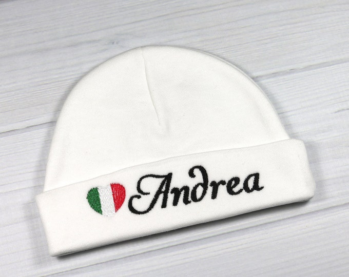 Personalized baby hat with Italian flag - preemie / newborn / 0-3 months / 3-6 months