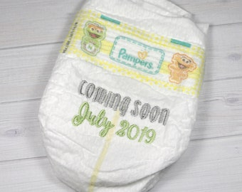 Pregnancy announcement diaper - Coming Soon - due date announcement, embroidered diaper baby keepsake for memory box or shadow box