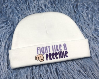 Embroidered baby hat - fight like a preemie