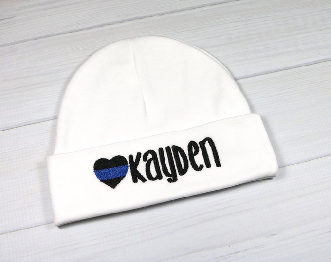 Personalized baby hat with embroidered thin blue line heart - preemie / newborn / 0-3 months / 3-6 months
