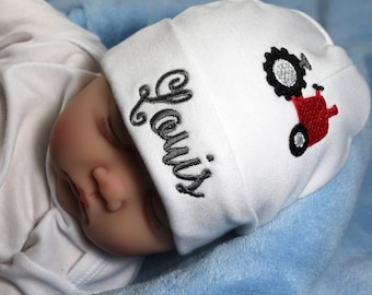 Personalized newborn hat with red tractor - micro preemie / preemie / newborn / 0-3 months / 3-6 months