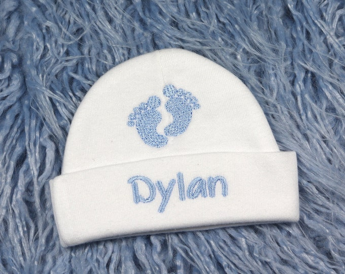 Personalized baby hat with footprints - micro preemie / preemie / newborn / 0-3 months / 3-6 months