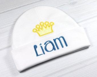 Personalized baby hat with crown appliqué - micro preemie / preemie / newborn / 0-3 months / 3-6 months