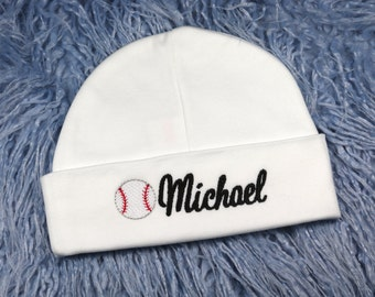 Personalized baby hat with baseball - micro preemie / preemie / newborn / 0-3 months / 3-6 months
