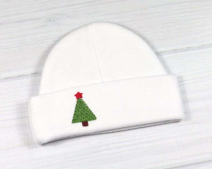 Christmas baby beanie with embroidered Chrstmas tree