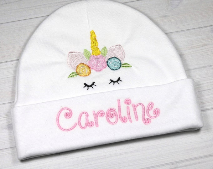 Personalized baby hat with embroidered unicorn - micro preemie / preemie / newborn / 0-3 months / 3-6 months