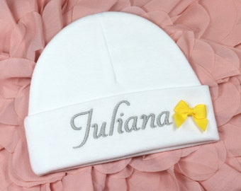 Personalized baby girl hat with yellow bow - micro preemie / preemie / newborn / 0-3 months / 3-6 months