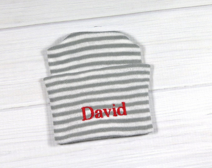 Baby hospital hat - personalized newborn beanie - personalized preemie hat