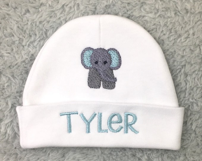 Personalized baby hat with elephant - micro preemie / preemie / newborn / 0-3 months / 3-6 months
