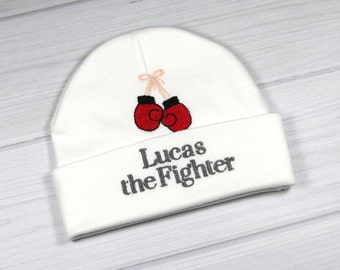 Personalized baby hat with boxing gloves - micro preemie / preemie / newborn / 0-3 months / 3-6 months