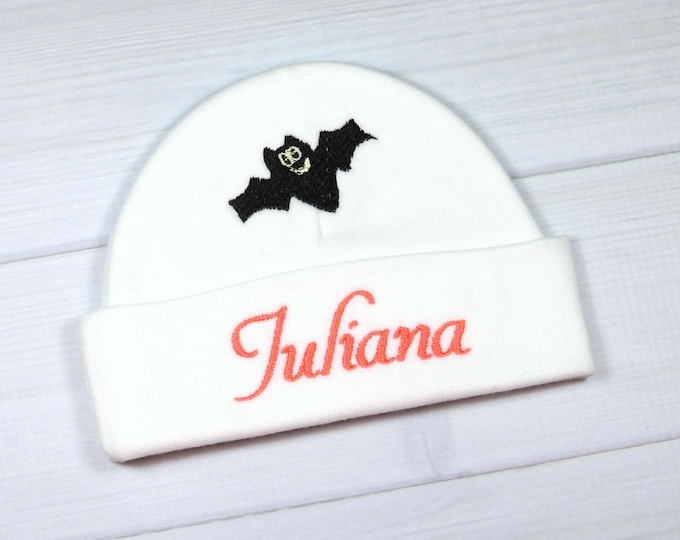 Personalized baby hat for Halloween - micro preemie / preemie / newborn / 0-3 months / 3-6 months