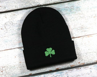 Shamrock embroidered winter hat - adult size beanie for men or women