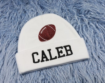 Personalized baby hat with football - micro preemie / preemie / newborn / 0-3 months / 3-6 months
