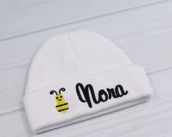 Personalized baby hat with bee - micro preemie / preemie / newborn / 0-3 months / 3-6 months