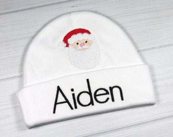 3cabe6c03a2 Monogrammed baby hat with Santa - custom preemie hat personalized newborn  hat -baby Christmas clothes