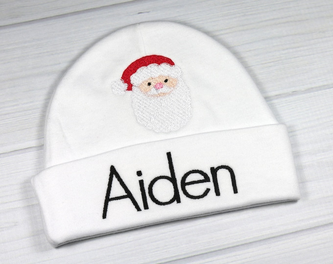 Personalized baby hat with Santa head - micro preemie / preemie / newborn / 0-3 months / 3-6 months