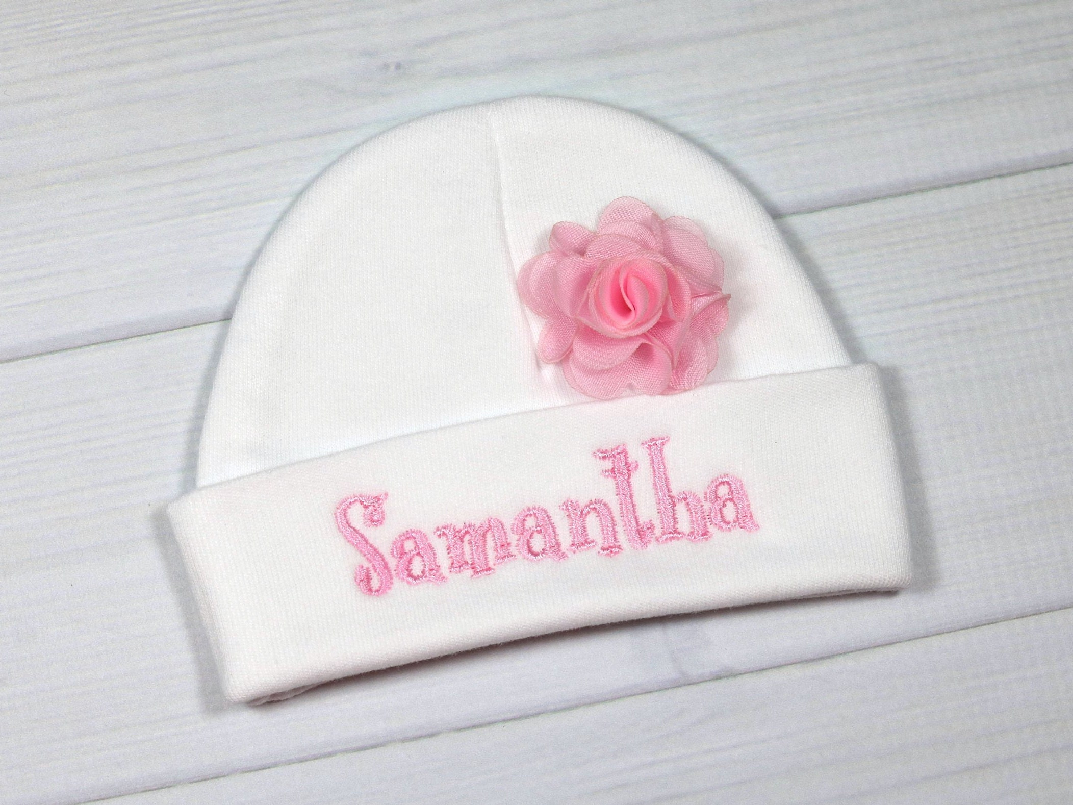 8c1632ca0 Personalized baby girl hat with 1.5 chiffon flower - micro preemie ...