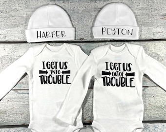 Personalized outfits for twins - twins hat and bodysuit set - I get us into trouble / I get us out of trouble - newborn twins preemie