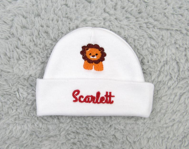 3bdf87e6f2b7e Personalized baby hat with lion - newborn hat, preemie hat baby boy hat  baby girl hat, NICU clothes, safari baby shower gift, lion baby hat