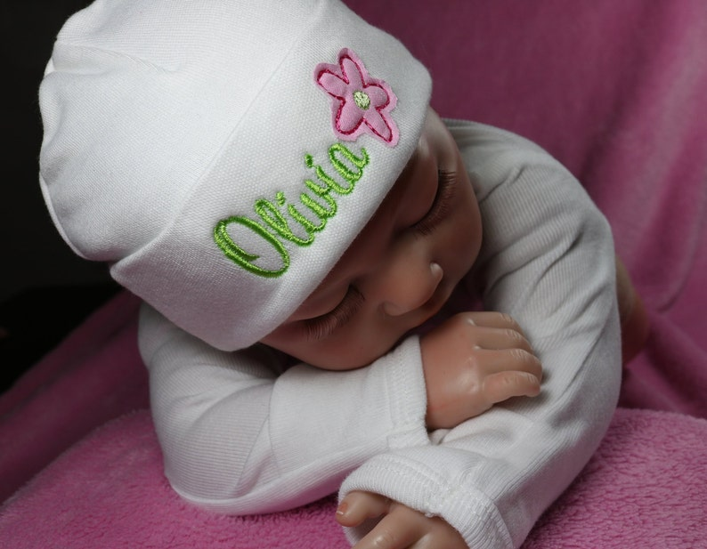 7ed427e0f7c8b Personalized baby girl hat with flower appliqué micro