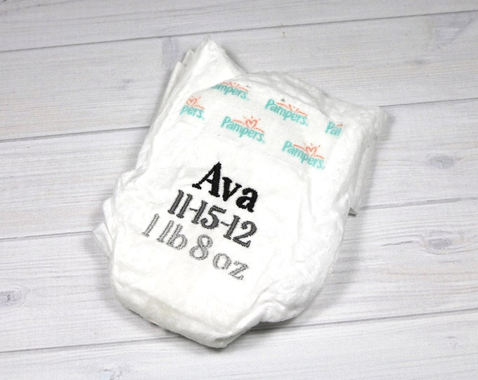 Micro preemie birth announcement diaper - embroidered diaper baby keepsake for memory box or shadow box