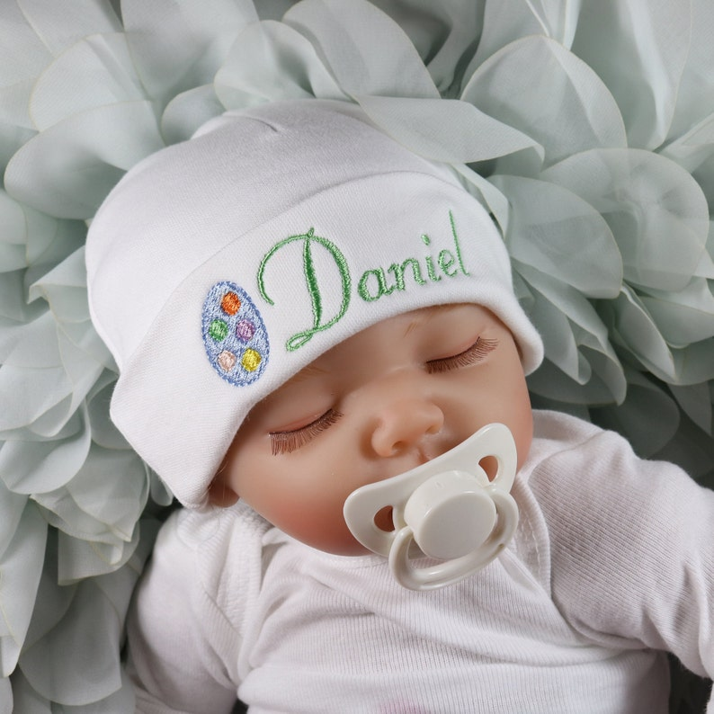 1d6337d46700f Personalized baby hat with embroidered Easter egg micro