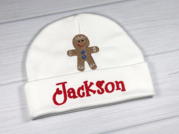 b51e92f0e38 Personalized baby hat with Gingerbread man for Christmas or