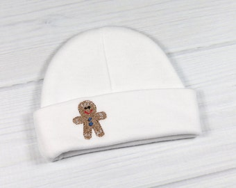 Baby beanie with embroidered gingerbread man