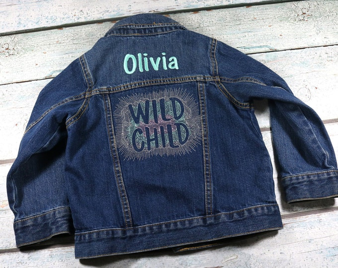 Personalized kids denim jacket with embroidered design Wild Child - toddler jean jacket with name
