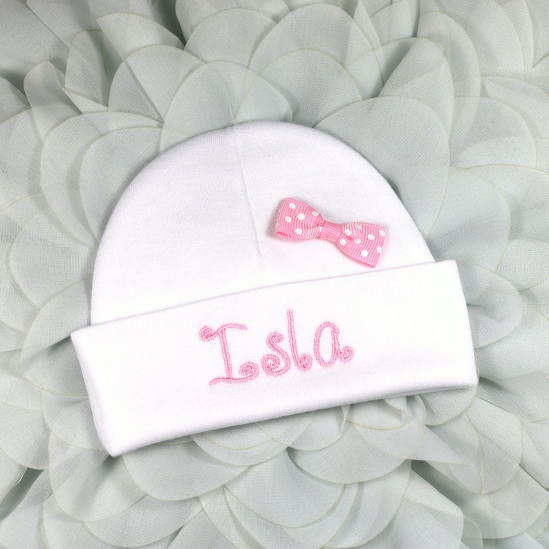 b78f56309dd15 Personalized baby girl hat with pink bow micro preemie