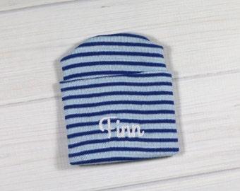 Baby hospital hat - personalized newborn beanie - personalized preemie hat - blue striped baby hat - baby boy name hat